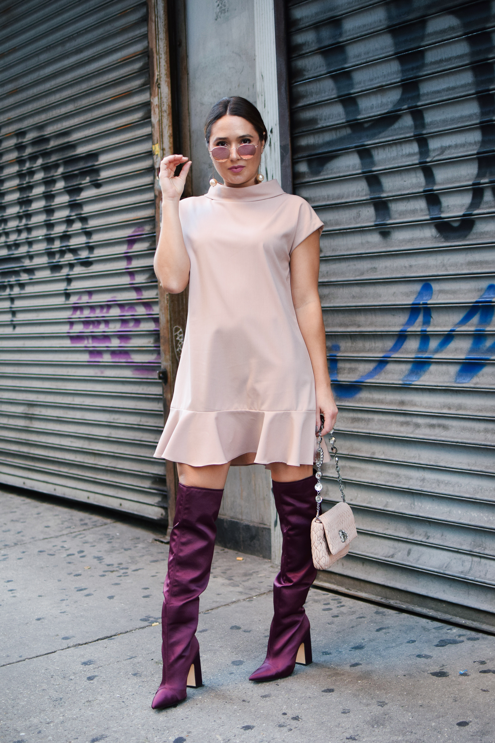 new-york-fashion-week-outfit-blush-dress-maroon-purple-boots-nyfw-blush-sunglasses-pearl-drop-earring-miu-miu-bag