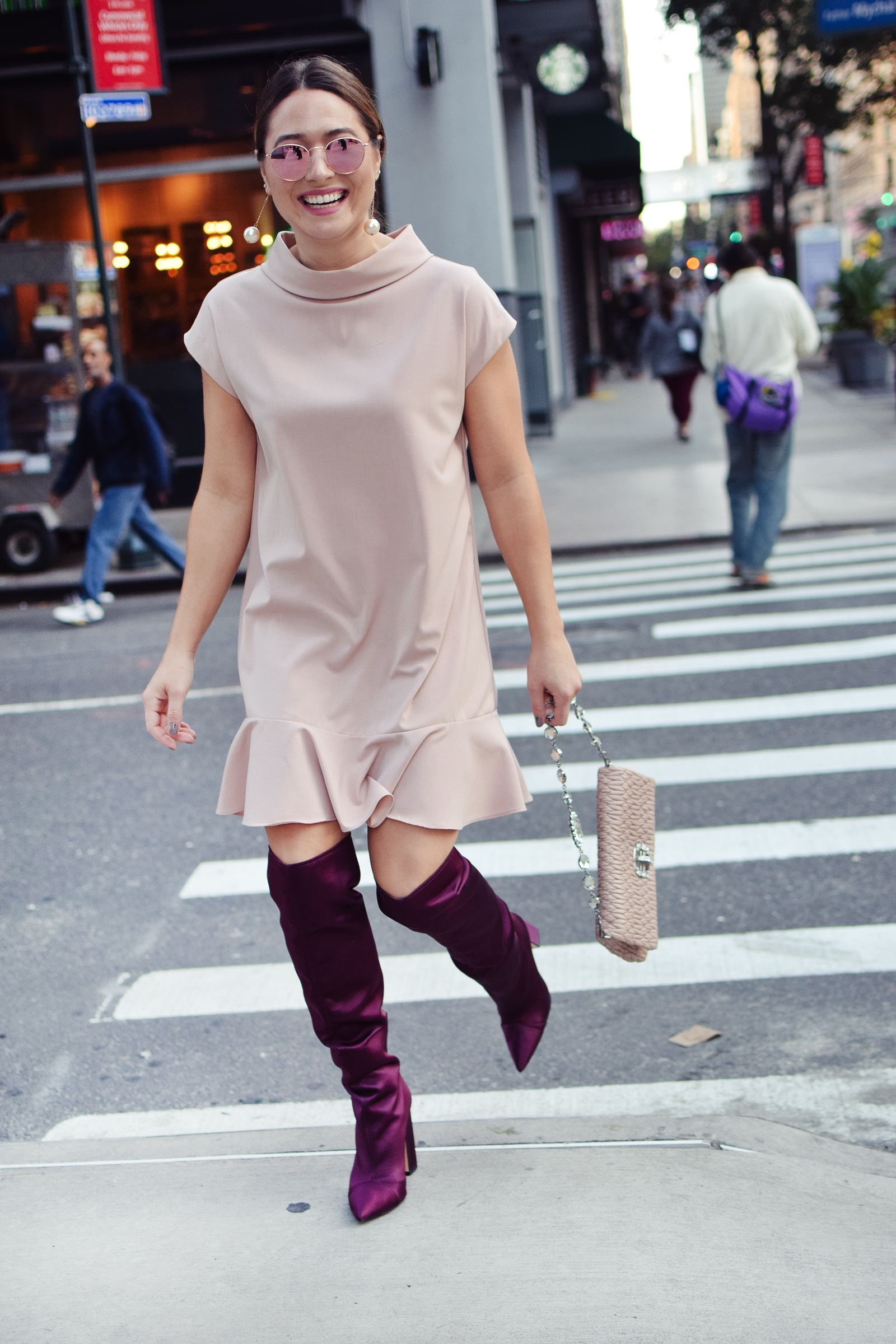all-smiles-new-york-fashion-week-outfit-blush-dress-maroon-purple-boots-nyfw-blush-sunglasses-pearl-drop-earring-miu-miu-bag