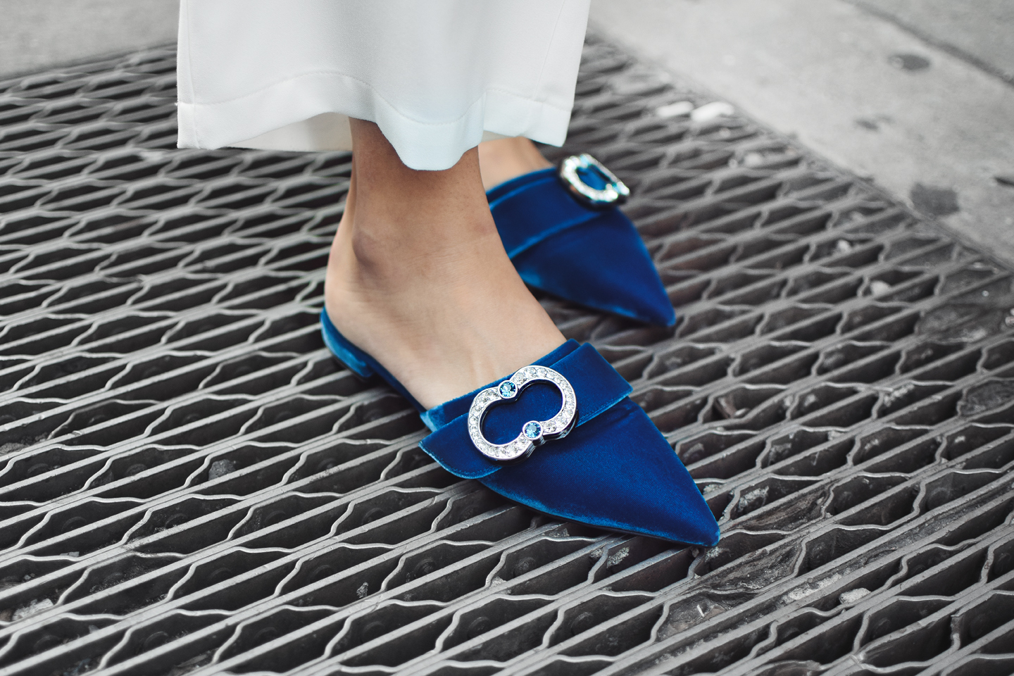 prada-royal-blue-velvet-crystal-buckle-flats