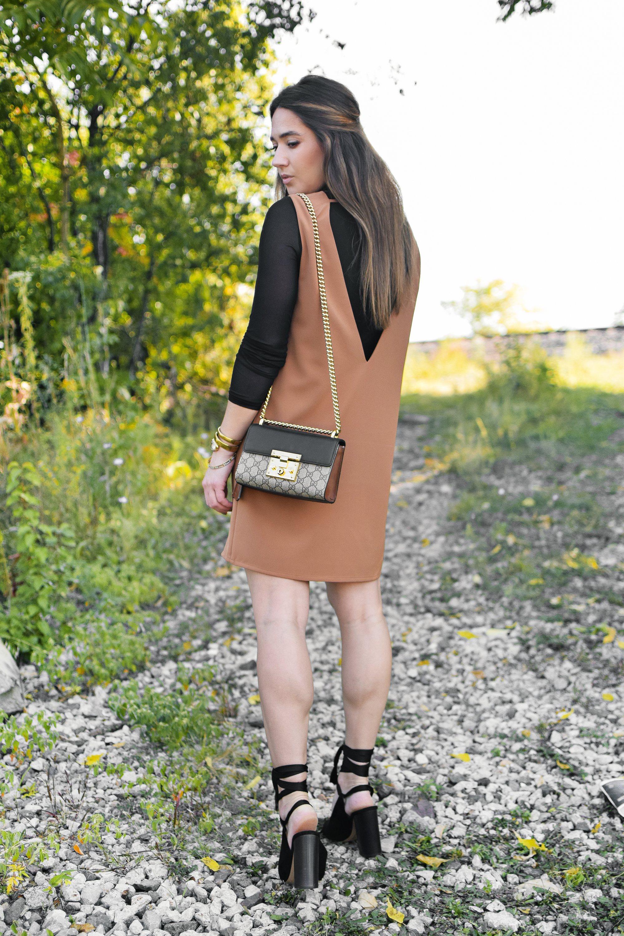 tobi-camel-shift-dress-fall-outfit-cute-style-sexy-professional-chloe-lace-up-heels-gucci-bag