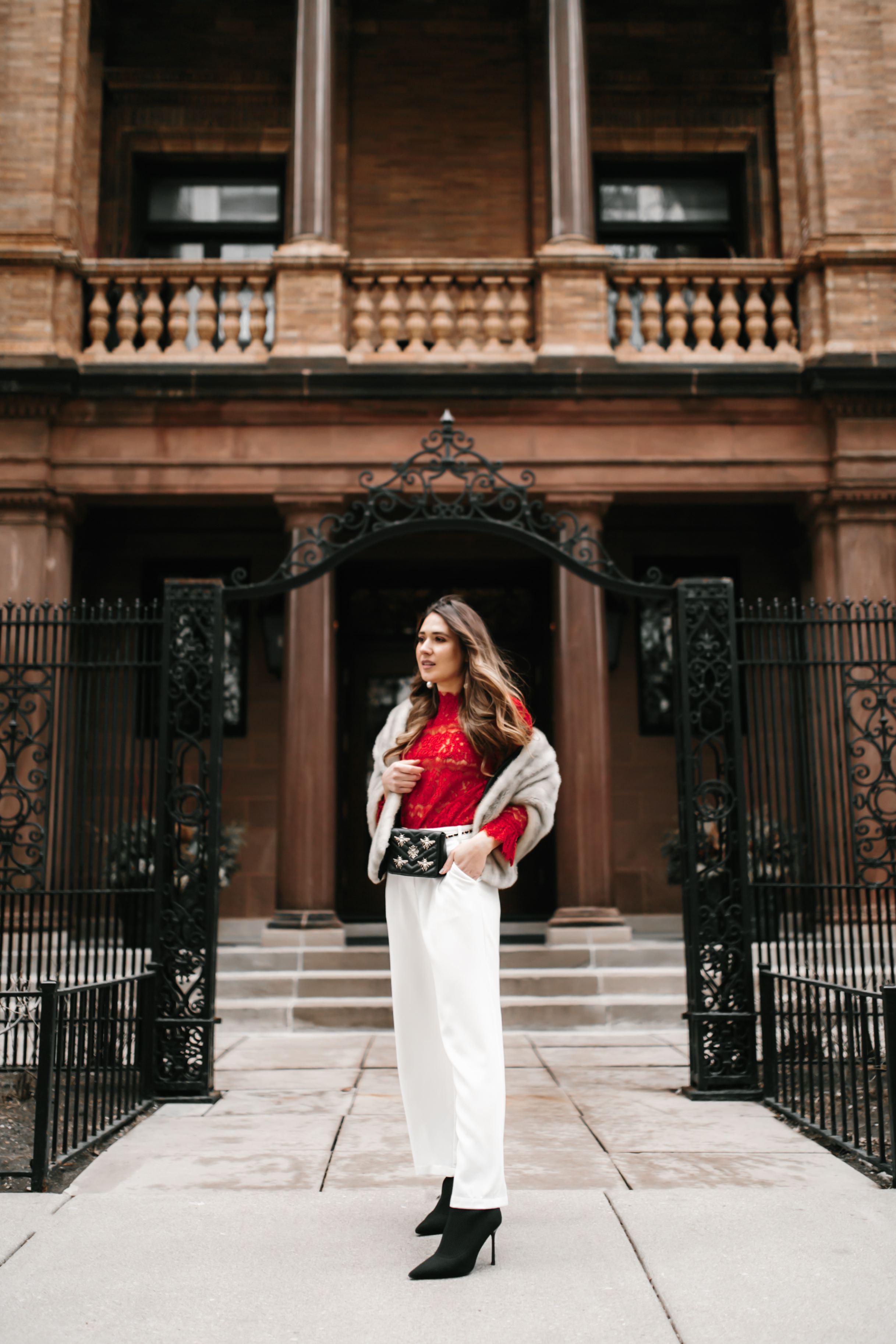 sexy-red-lace-top-white-wide-leg-pants-gucci-belt-bag-fanny-pack-fur-stole-shawl-outfit-inspo