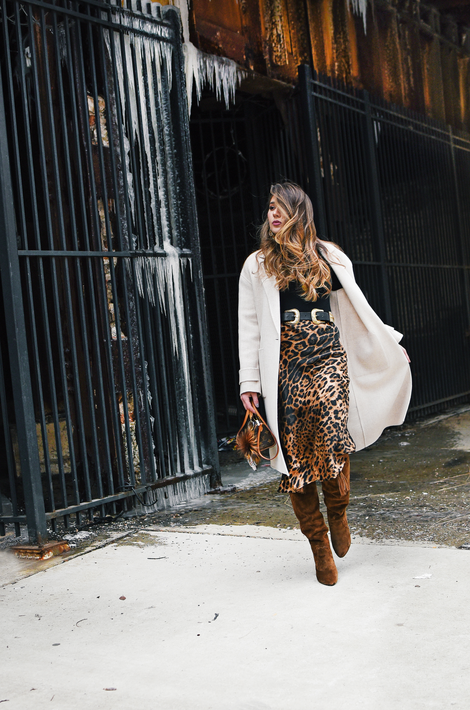 cheetah-skirt-ysl-fringe-boot-long-trench-coat-winter-spring-layers-style-outfit