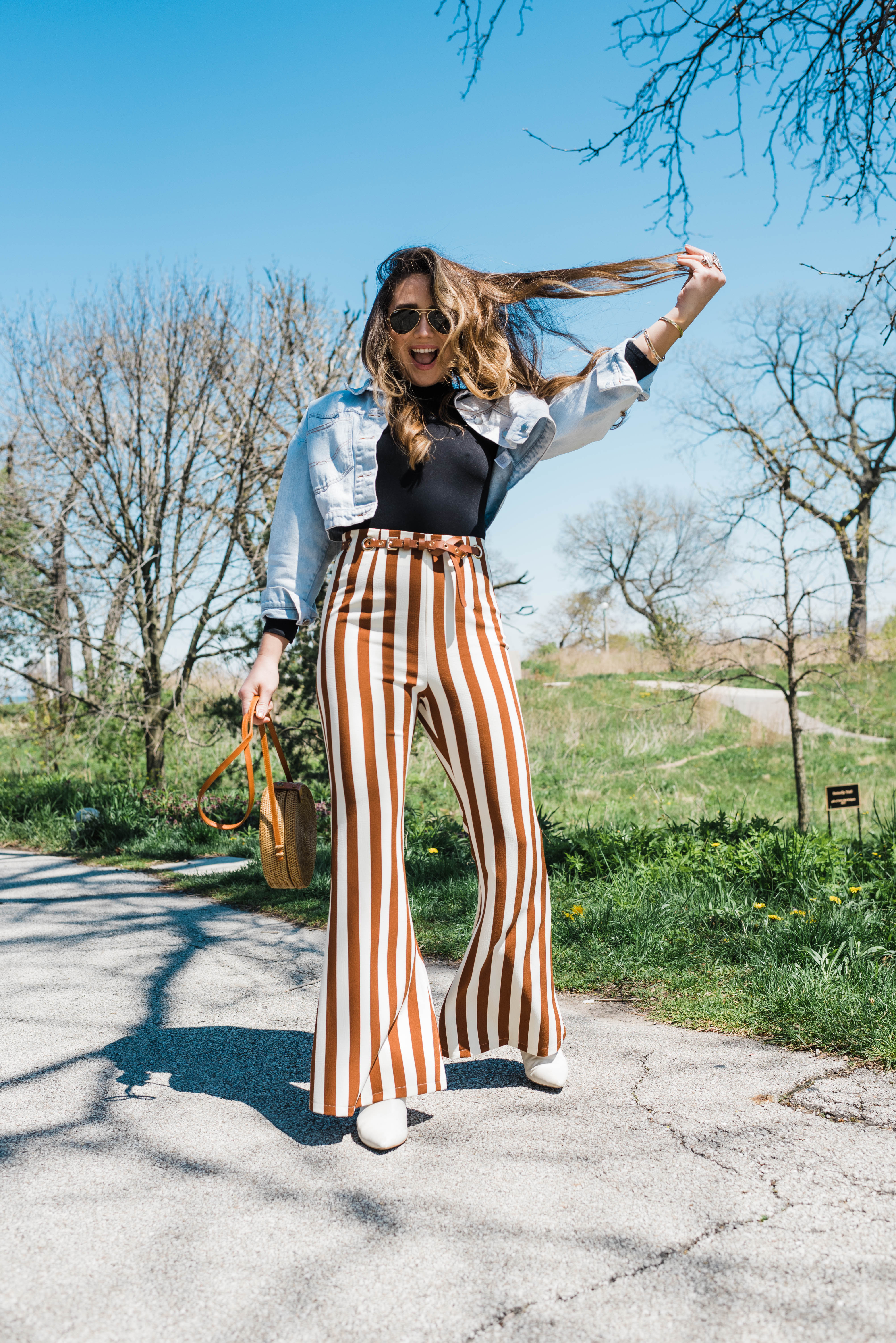 stripe-pants-jean-jacket-white-booties-spring-outfit-style