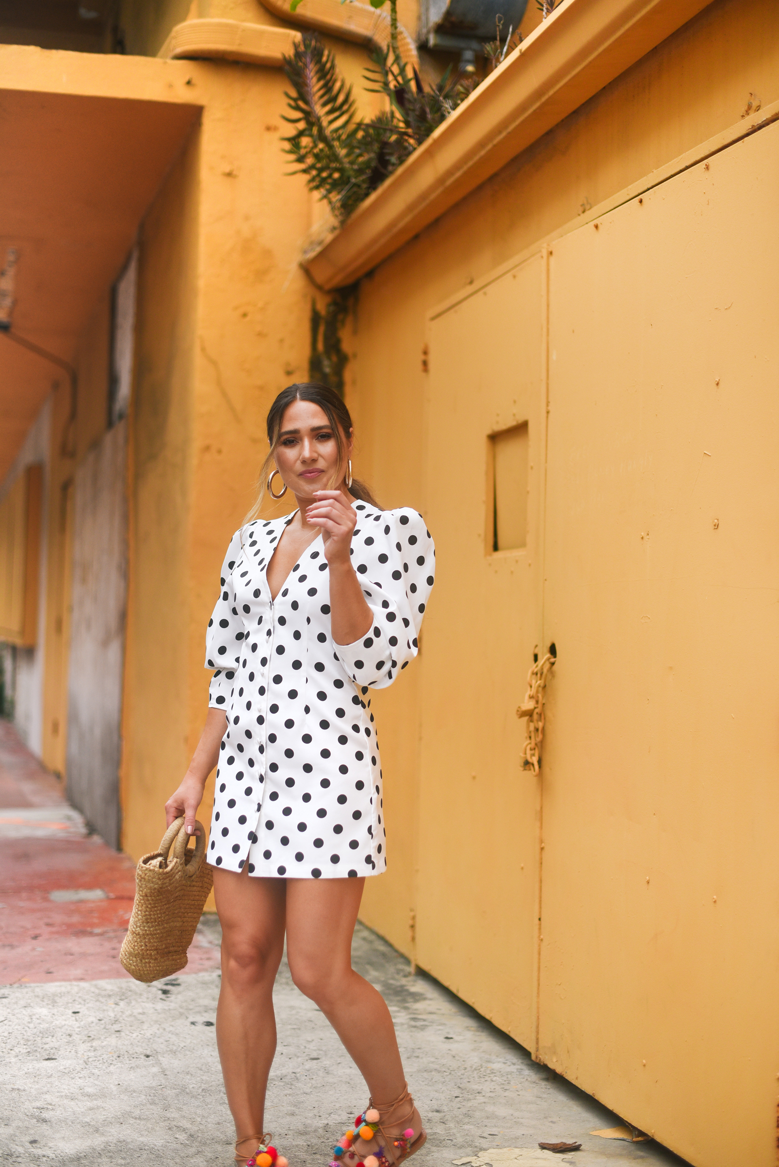 polka-dot-mini-dress-colorful-sandals-miami-street-style-look