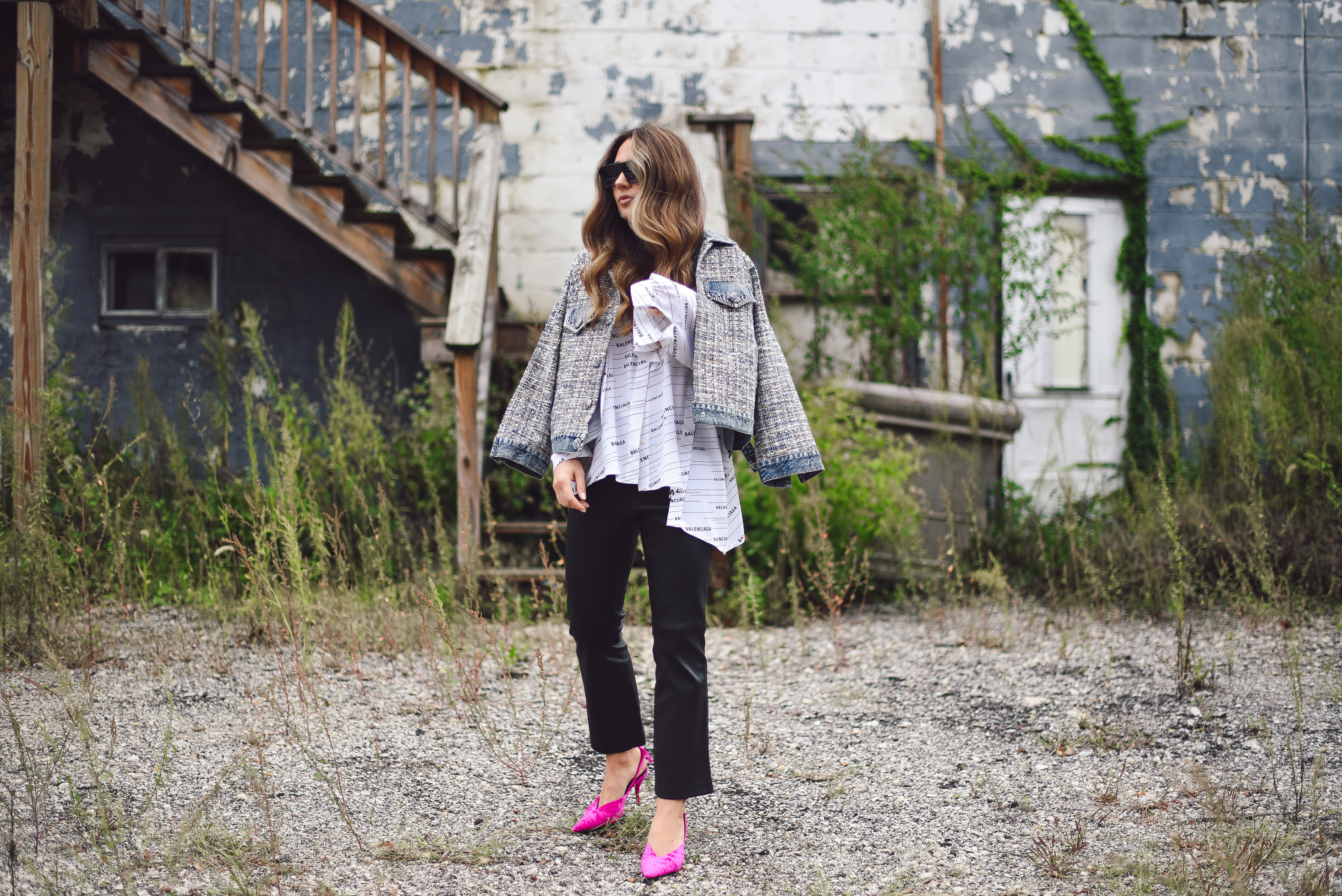 balenciaga-shirt-leather-pants-pink-pump-sparkle-jean-jacket-street-style-outfit