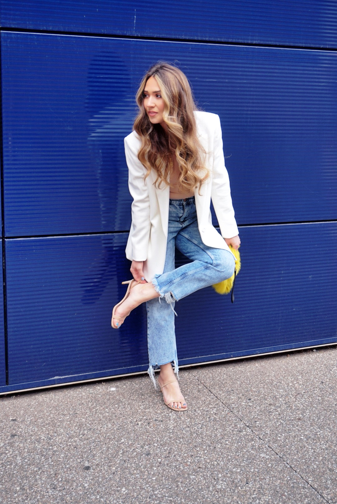 white-blazer-jean-shorts-light-wash-jeans-outfit-2-ways-to-style-cute-outfit-inspo