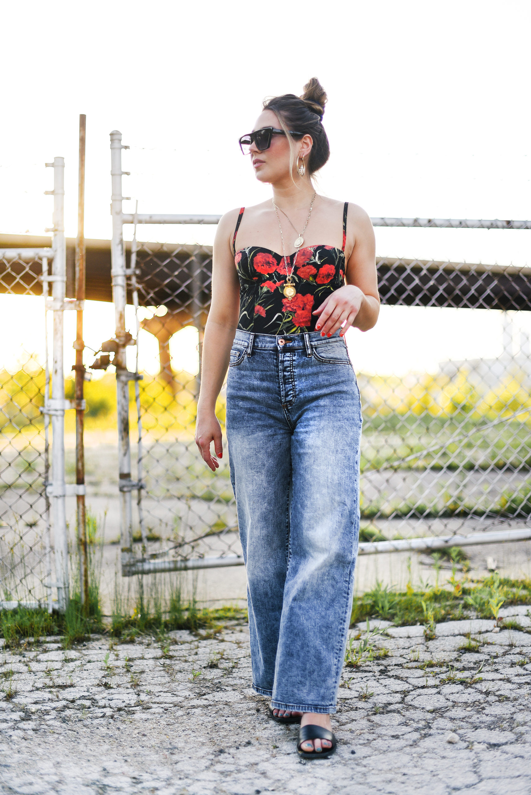 dolce-gabbana-swimsuit-styled-as-bodysuit-with-jeans-outfit-girl-street-style-summer-fashion-outfit-idea